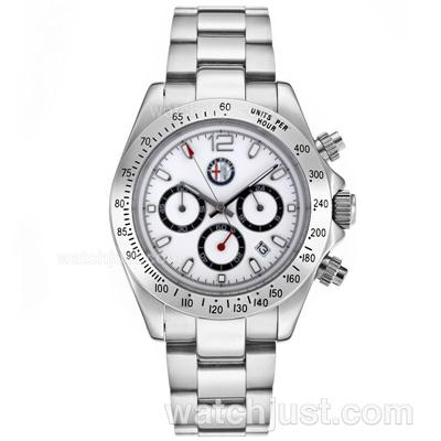 Rolex Daytona Working Chronograph with White Dial S/S-Alfa Romeo Edition [db57]