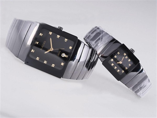 Rado DiaStar Klocka Autentiska Keramiska Black Dial Couple Watch [9ebe]