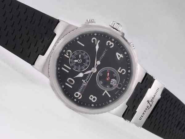 Ulysse Nardin Watch Le Locle Suisse Chronograph Automatic with Black Dial-Number Marking [533b]