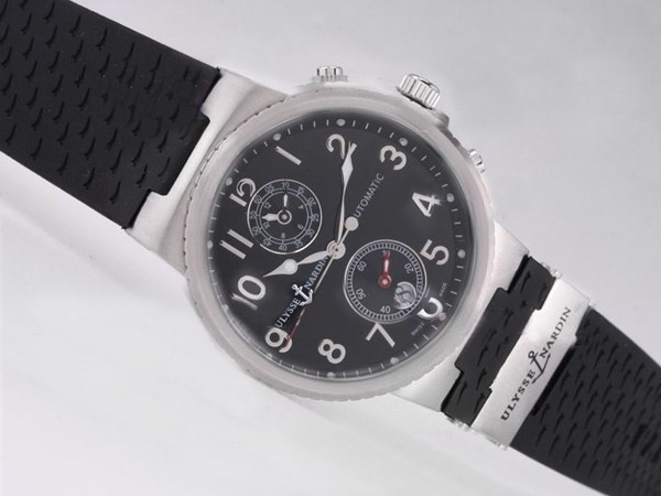 Ulysse Nardin Watch Le Locle Suisse Chronograph Automatic with Black Dial-Number Marking [d5ea]
