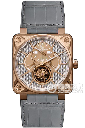 Copy Bell & Ross BR 01 TOURBILLON Series BR 01 TOURBILLON PINK GOLD Carbon Fiber Dial Watches [d372]
