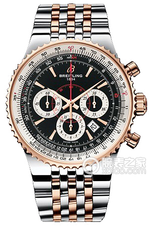 Copy 47 Breitling chronograph watch limited edition Mengbai Lang (Montbrillant 47) series stainless steel and 18K rose gold case - black dial - goldsmith Navitimer aviation steel bracelet watches [6b73]