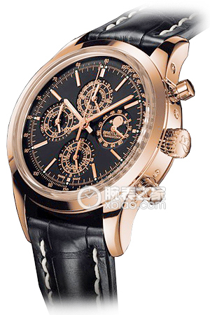 Copy Breitling Transocean Chronograph watch QP (TRANSOCEAN CHRONOGRAPH QP) series rose gold case - black dial - crocodile leather strap watches [95e3]