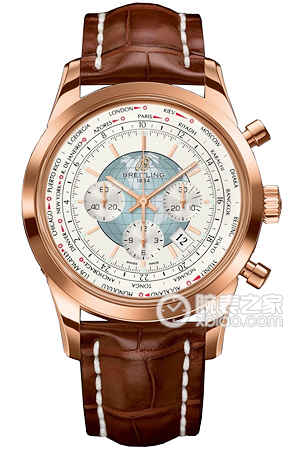 Copy Breitling Transocean Chronograph World Time (Transocean Chronograph Unitime) Series 18K rose gold case - Polar White Dial - crocodile leather strap watches [df7b]