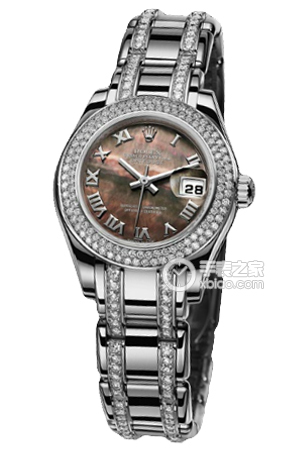 Copy Ladies Rolex Datejust Ladies Pearl Series 80339 Black Mother of Pearl Watches [4c6e]