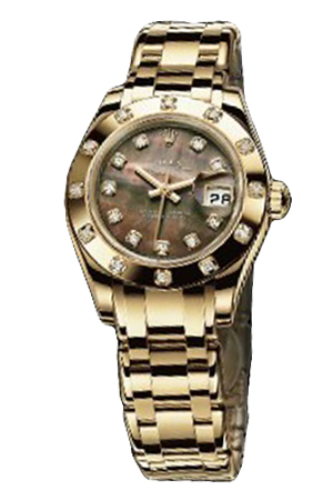 Copy Ladies Rolex Datejust Ladies Pearl Series 80318 Black Mother of Pearl Watches [8100]