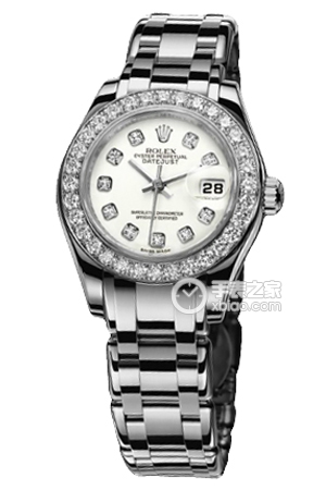 Copy Ladies Rolex Datejust Ladies Pearl Series 80,299 diamond-studded watch white plate [b0c0]