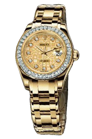 Copy Ladies Rolex Datejust Ladies pearl gold commemorative series 80308BR pattern Dial Watches [6bd5]