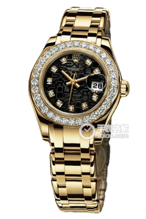Copy Ladies Rolex Datejust Series 80298 Black Pearl ladies watch with diamonds pattern [21ea]