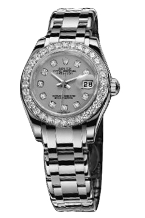 Copy Ladies Rolex Datejust Series 80299 silver pearl diamond ladies watches [7df7]